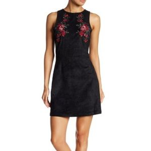 Faux Suede Embroidered Dress